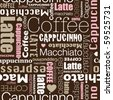 I love all sorts of coffee seamless background pattern in vector - stock vector