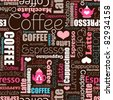 I love all sorts of coffee seamless background typography tea pattern  in vector - stock vector