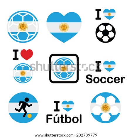 I love Argentine football, soccer icons set - stock vector