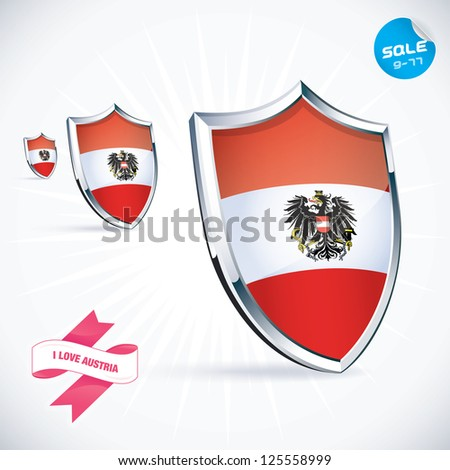 I Love Austria Flag Illustration, Sign, Symbol, Button, Badge, Icon, Logo for Family, Baby, Children, Teenager, People - stock vector