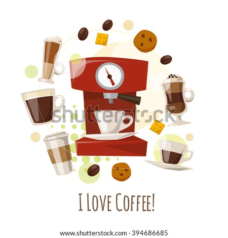 I Love Caffee vector card. Cool illustration of Infographic coffee and coffee machine.  Flat coffee icons. Food and drink elements. Breakfast icons. Coffee, cup, cakes, sweets and coffee beans.  - stock vector