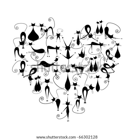 I love cats! Black cats silhouette in heart shape for your design - stock vector