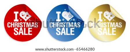 I love Christmas sale stickers set.
