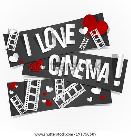 I Love Cinema Banners vector illustration - stock vector