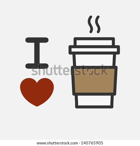 I love coffee - stock vector