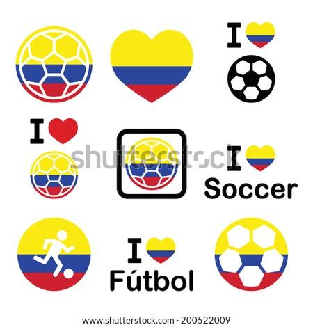 I love Colombian football, soccer icons set - stock vector