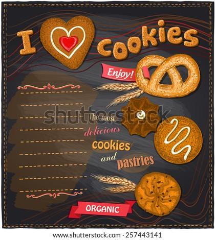 I love cookies chalkboard bakery menu list. - stock vector