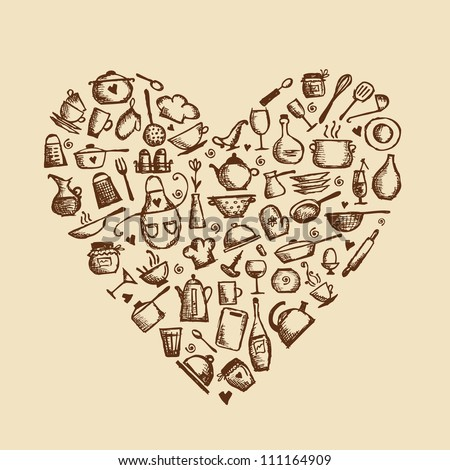 I love cooking! Kitchen utensils sketch, heart shape for your design - stock vector