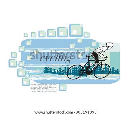i love cycling banner - stock vector