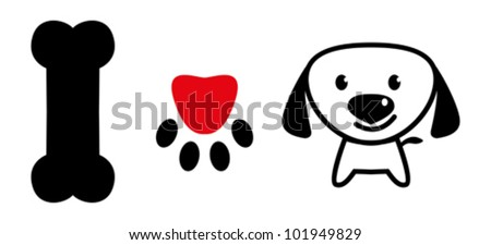 I love dog message showing bone, pup paw with love symbol and a cute puppy - stock vector
