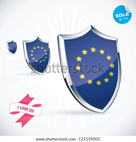 I Love EU Flag Illustration, Sign, Symbol, Button, Badge, Icon, Logo for Family, Baby, Children, Teenager, People - stock vector