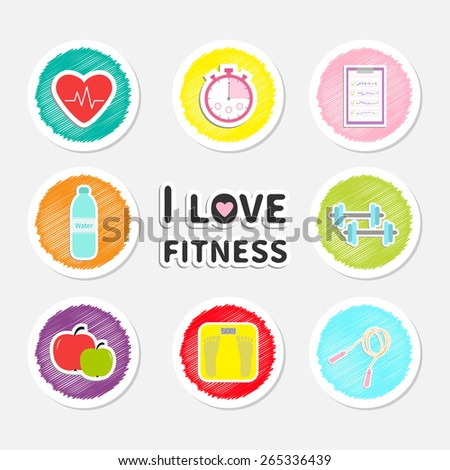 I love fitness round icon set isolated Timer whater, dumbbell, apple, jumping rope, scale, note heart Flat design Vector illustration - stock vector