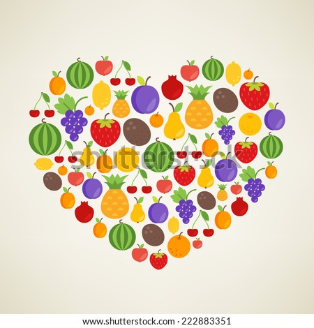 I love Fruits. Vector concept. Heart with different fruit flat icons depicting apple, apricot, cherry, coconut, grapefruit, lemon, orange, pear, pineapple, plum, pomegranate, strawberry, watermelon - stock vector