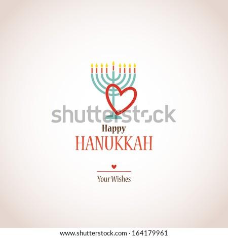 i love hanukkah, hanukkah menora with heart - stock vector