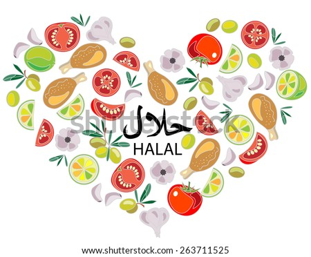 I love Healthy Food. Vector concept. Heart with different food. Halal label. - stock vector