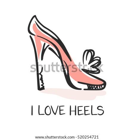 Love Heels Fashion Emblem Hand Drawn Stock-Vektorgrafik (Lizenzfrei ...