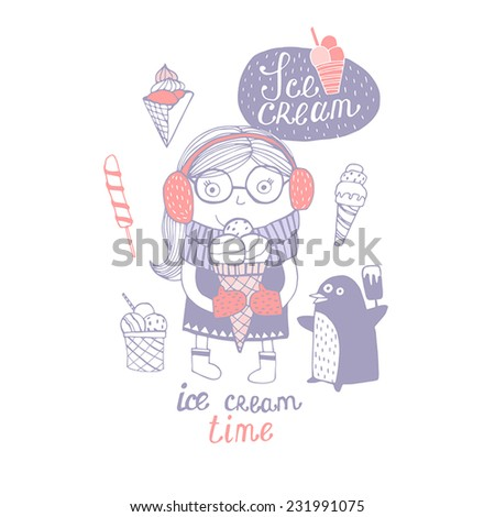 I Love Ice cream. Cute background with little girl and ice cream. - stock vector