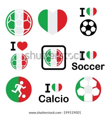 I love Italian football, soccer icons set - stock vector