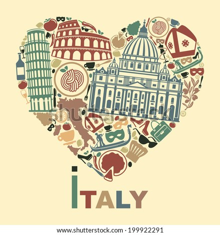 I love Italy - stock vector
