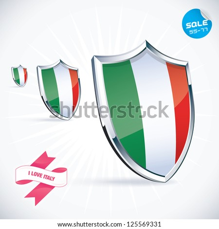 I Love Italy Flag Illustration, Sign, Symbol, Button, Badge, Icon, Logo for Family, Baby, Children, Teenager, People - stock vector