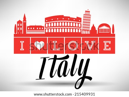 I Love Italy Typography Design - stock vector