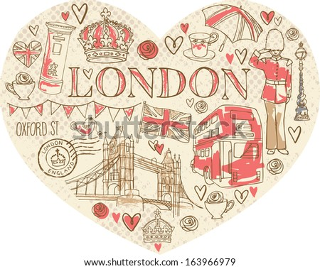I Love London - icons in heart shape - stock vector