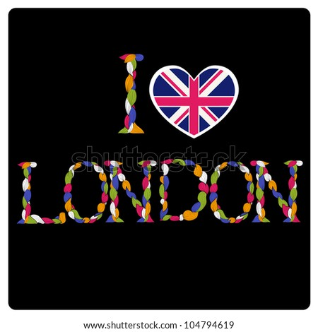 I love London title. Alphabet made of curls. - stock vector