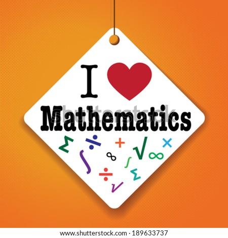 I love mathematics vector paper tag sticker