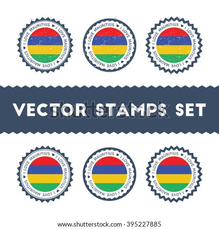 I Love Mauritius Vector Stamps Set. Retro Patriotic Country Flag Stamps. Mauritius Flag Vintage Round Signs. I Love Mauritius stickers collection.