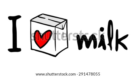 I love milk symbol - stock vector