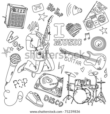 I LOVE MUSIC - stock vector