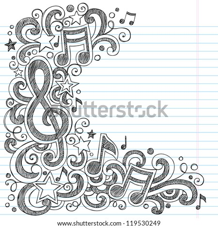 I Love Music Back to School Sketchy Notebook Doodles with Music Notes and Swirls- Hand-Drawn Vector Illustration Design Elements on Lined Sketchbook Paper Background - stock vector