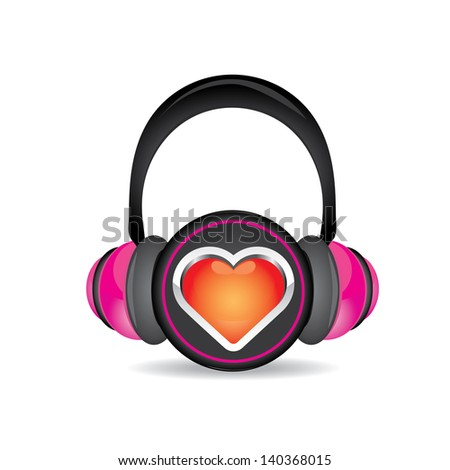 i love music concept background. pink headphones with red heart isolated on white