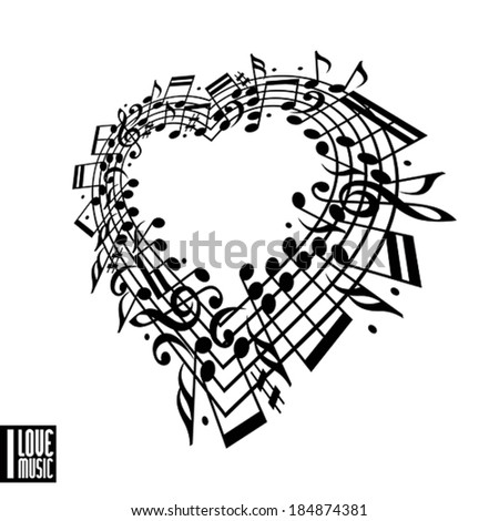 I love music concept. Heart made with musical notes and clef, black and white design, contain copy space inside for your text, music theme vector design template.