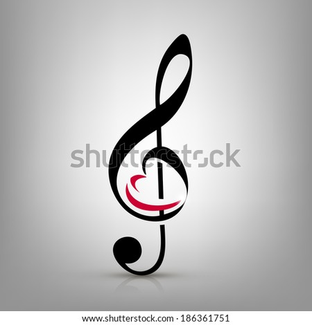 I love music concept, treble clef with an illustration of a heart-shaped - stock vector