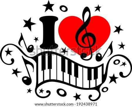 love music piano music notes heart stock vector hd royalty free rh shutterstock com Music Notes Symbols Music Notes Symbols