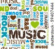 i love music seamless pattern background in vector - stock