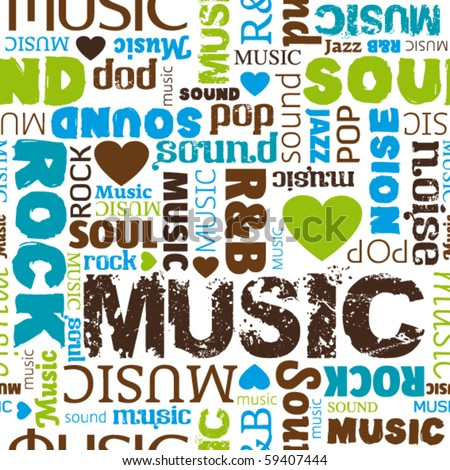 i love music seamless pattern background in vector - stock vector