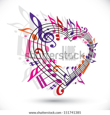 I love music template in red pink and violet colors, heart made with musical notes and clef, contain copy space inside for your text, music theme vector design template.