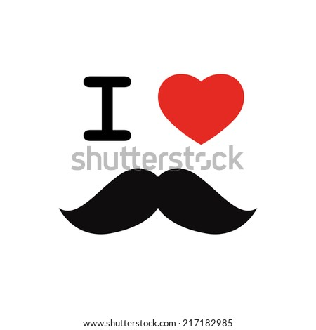 I love mustache with red heart shape isolated on white background - stock vector