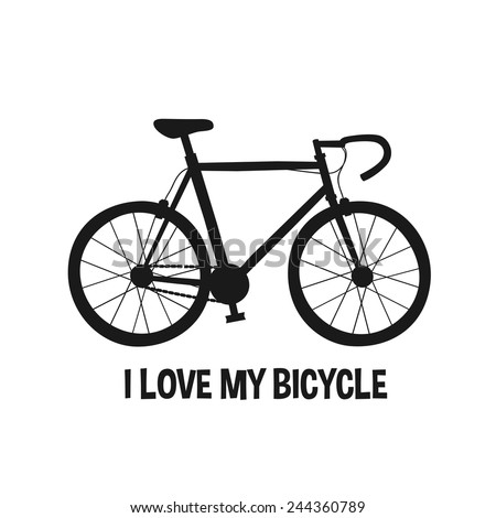 I Love My Bicycle, road bike silhouette, cartoon style vector art illustration series. - stock vector