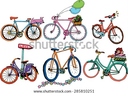 I Love My Bicycle Set - stock vector