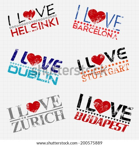 I love my city stamps on a vector squared paper background - stock vector
