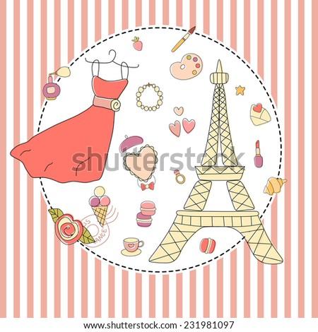 Love My Paris Vintage Vector Illustration Stock Vector 231981097 ...