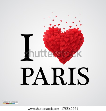 i love paris, font type with heart sign. - stock vector