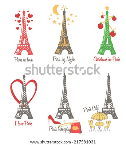 I love Paris - vector files collection - stock vector