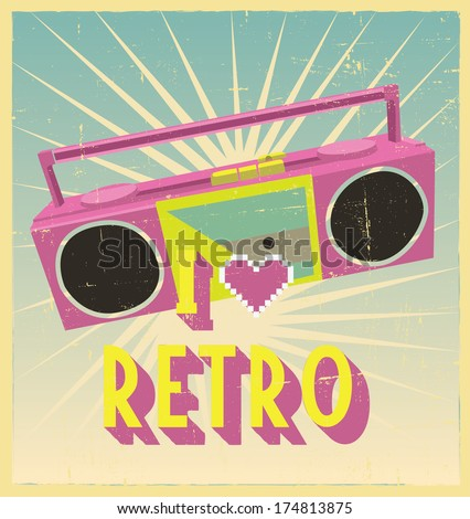 i love retro sign with cassette deck on postcard or poster. retro vintage poster or postcard design with cassette deck - stock vector