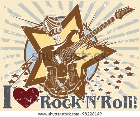 I love rock 'n' roll. poster - stock vector