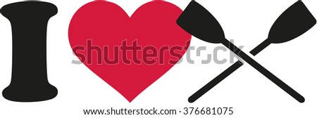 I love rowing with crossed paddles - stock vector