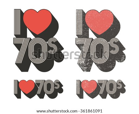 I Love 70s - stock vector